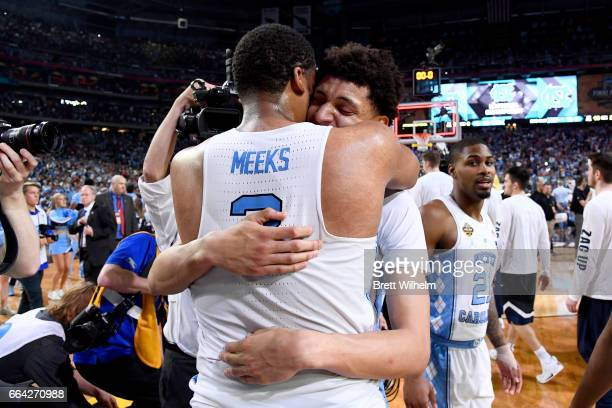 Kennedy Meeks and Justin Jackson of the North Carolina Tar Heels embrace after time expires during the 2017 NCAA Men's Final Four National...