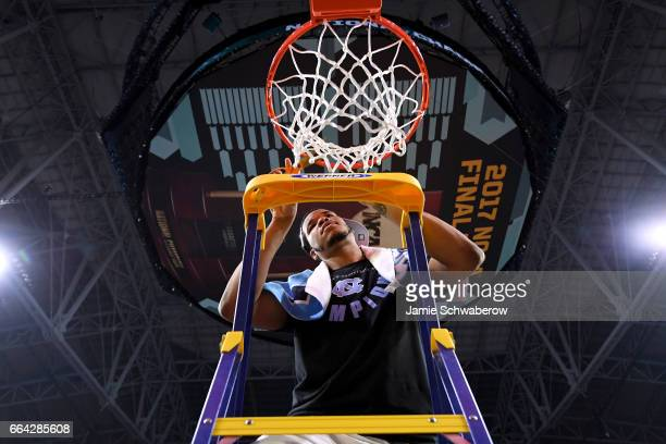 Kennedy Meeks of the North Carolina Tar Heels cuts the net during the 2017 NCAA Men's Final Four National Championship game against the Gonzaga...