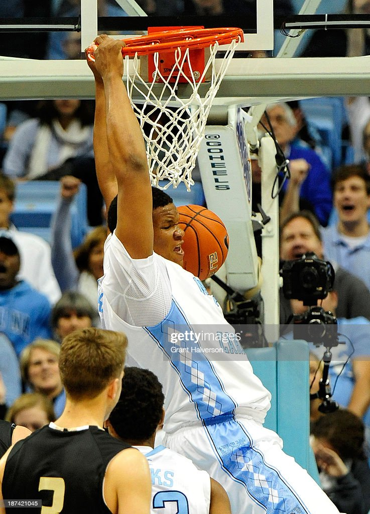 Kennedy Meeks #3 of the North Carolina Tar Heels dunks against the Oakland Golden Grizzlies during play at the Dean Smith Center on November 8, 2013 in Chapel Hill, North Carolina.