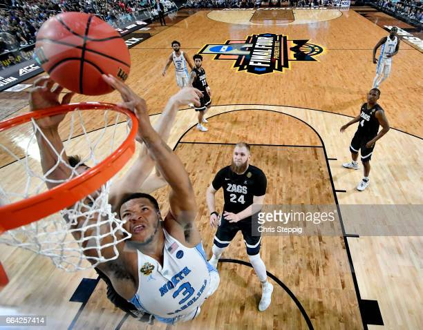 Kennedy Meeks of the North Carolina Tar Heels dunks during the 2017 NCAA Men's Final Four National Championship game against the Gonzaga Bulldogs at...