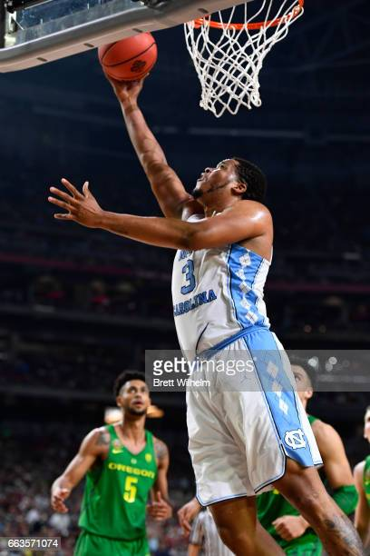 Kennedy Meeks of the North Carolina Tar Heels goes for a layup during the 2017 NCAA Men's Final Four Semifinal against the Oregon Ducks at University...