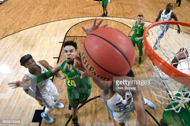 Kennedy Meeks of the North Carolina Tar Heels goes in for a layup during the 2017 NCAA Men's Final Four Semifinal against the Oregon Ducks at...