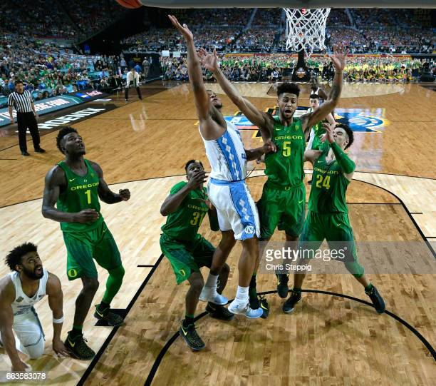 Kennedy Meeks of the North Carolina Tar Heels goes in for the rebound in the final seconds during the 2017 NCAA Men's Final Four Semifinal against...