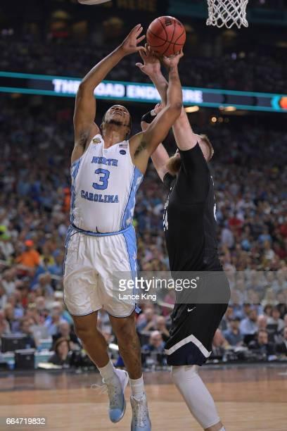 Kennedy Meeks of the North Carolina Tar Heels puts up a shot against Przemek Karnowski of the Gonzaga Bulldogs during the 2017 NCAA Men's Final Four...