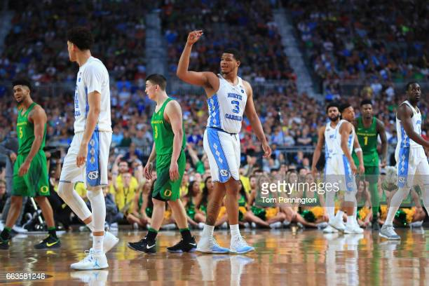 Kennedy Meeks of the North Carolina Tar Heels reacts in the second half against the Oregon Ducks during the 2017 NCAA Men's Final Four Semifinal at...