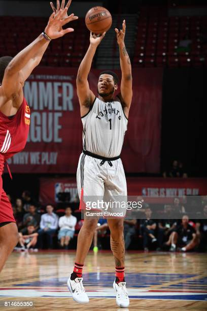 Kennedy Meeks of the Toronto Raptors shoots the ball against the Cleveland Cavaliers on July 14 2017 at the Thomas Mack Center in Las Vegas Nevada...