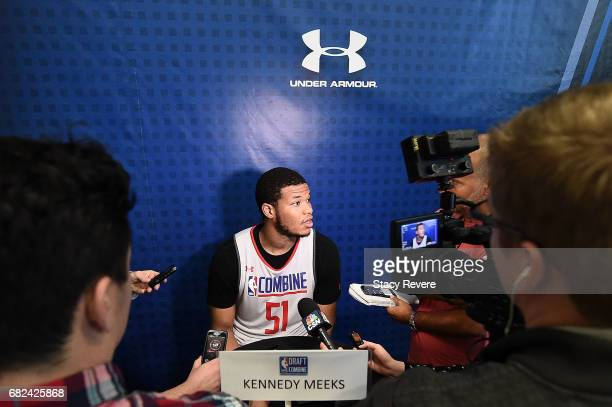 Kennedy Meeks speaks to reporters during Day Two of the NBA Draft Combine at Quest MultiSport Complex on May 12 2017 in Chicago Illinois NOTE TO USER...