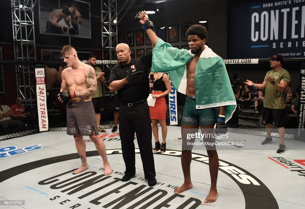 Kennedy Nzechukwu celebrates after his split-decision victory over Anton Berzin of Ukraine in their light heavyweight bout during Dana White's Tuesday Night Contender Series at the TUF Gym on August 22, 2017 in Las Vegas, Nevada.