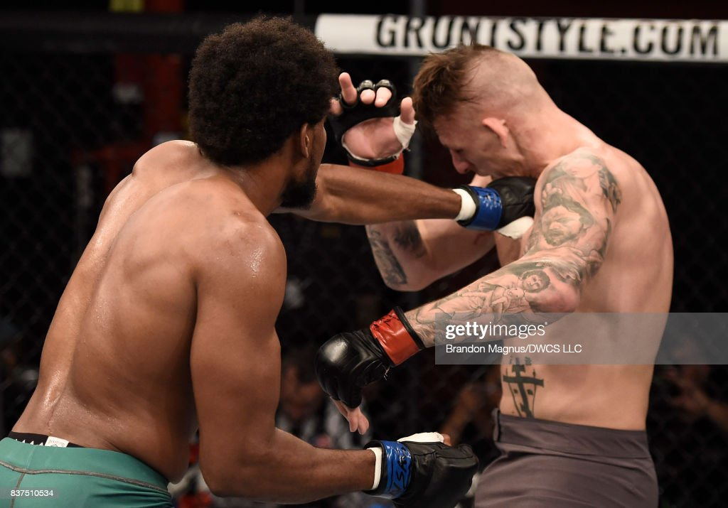 Kennedy Nzechukwu punches Anton Berzin of Ukraine in their light heavyweight bout during Dana White's Tuesday Night Contender Series at the TUF Gym on August 22, 2017 in Las Vegas, Nevada.