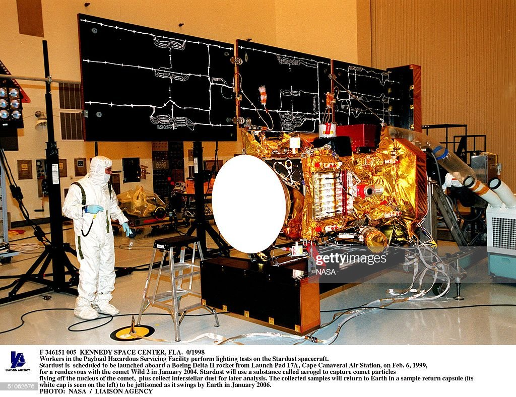 Kennedy Space Center Fla 0/1998 Workers In The Payload Hazardous Servicing Facility Perform Lighting Tests On The Stardust Spacecraft Stardust Is...