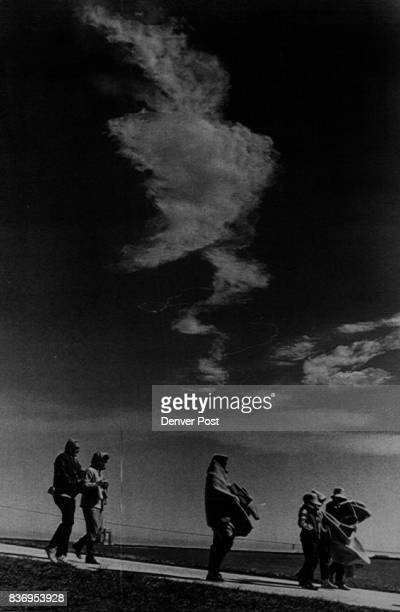 Kennedy Space Center Fla Jan 28Colorado students and teachers leave viewing area with smoke from explosion behind them Denver Post photo by Karl...