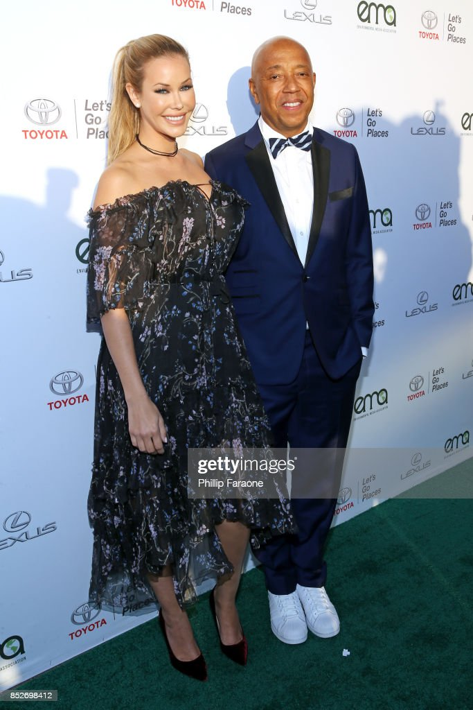 Kennedy Summers (L) and Russell Simmons at the Environmental Media Association's 27th Annual EMA Awards at Barkar Hangar on September 23, 2017 in Santa Monica, California.