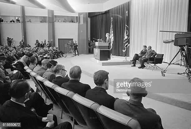 Kennedy's second press conference Washington General view in the New State Department Auditorium today as President Kennedy held his second press...