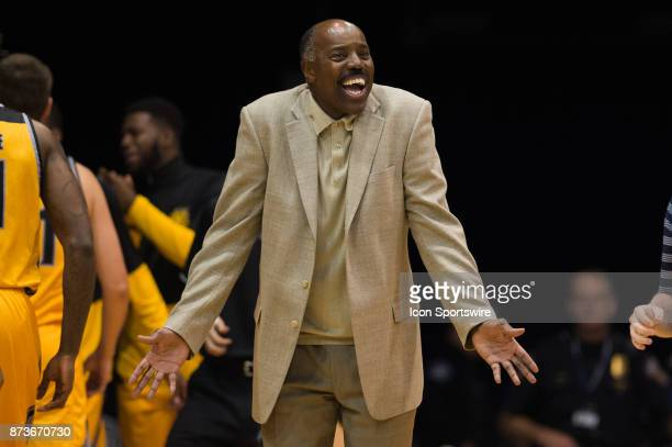Kennesaw State Owls head coach Al Skinner gestures to a official after a foul call during the men's college basketball game between the Butler...