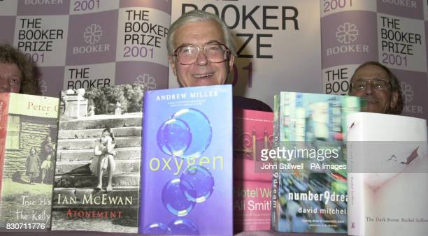 Kenneth Baker Chairman of the judges panel for the Booker prize 2001 with the six books named on the shortlist * The books were named as 'True...