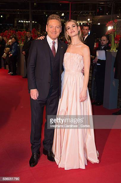 Kenneth Branagh and Lilly James attend the 'Cinderella' premiere during the 65th Berlinale International Film Festival at Berlinale Palace on...