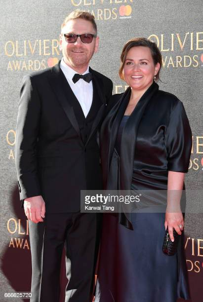 Kenneth Branagh and Lindsay Brunnock arrive for The Olivier Awards 2017 at the Royal Albert Hall on April 9 2017 in London England
