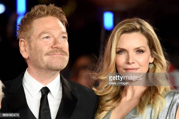 Kenneth Branagh and Michelle Pfeiffer attend the 'Murder On The Orient Express' World Premiere at Royal Albert Hall on November 2 2017 in London...
