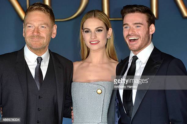 Kenneth Branagh Lily James and Richard Madden attend the UK Premiere of 'Cinderella' at Odeon Leicester Square on March 19 2015 in London England
