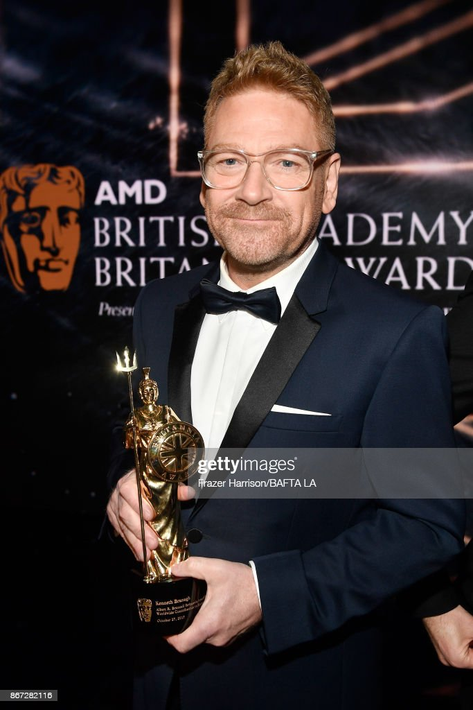 Kenneth Branagh, recipient of the Albert R. Broccoli Britannia Award for Worldwide Contribution to Entertainment, at the 2017 AMD British Academy Britannia Awards Presented by American Airlines And Jaguar Land Rover at The Beverly Hilton Hotel on October 27, 2017 in Beverly Hills, California.