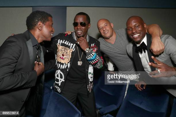 Kenneth Brian Edmonds aka BabyFace Sean Combs Vin Diesel and Tyrese Gibson attend the Los Angeles Premiere of 'Can't Stop Won't Stop' at the Writers...