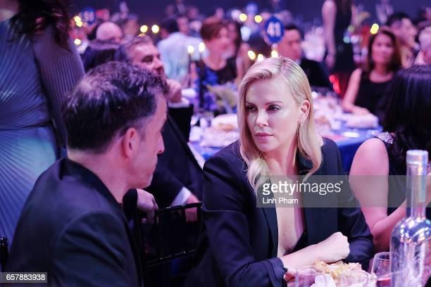 Kenneth Cole and Charlize Theron attend the amfAR Hong Kong Gala 2017 at Shaw Studios on March 25 2017 in Hong Kong Hong Kong