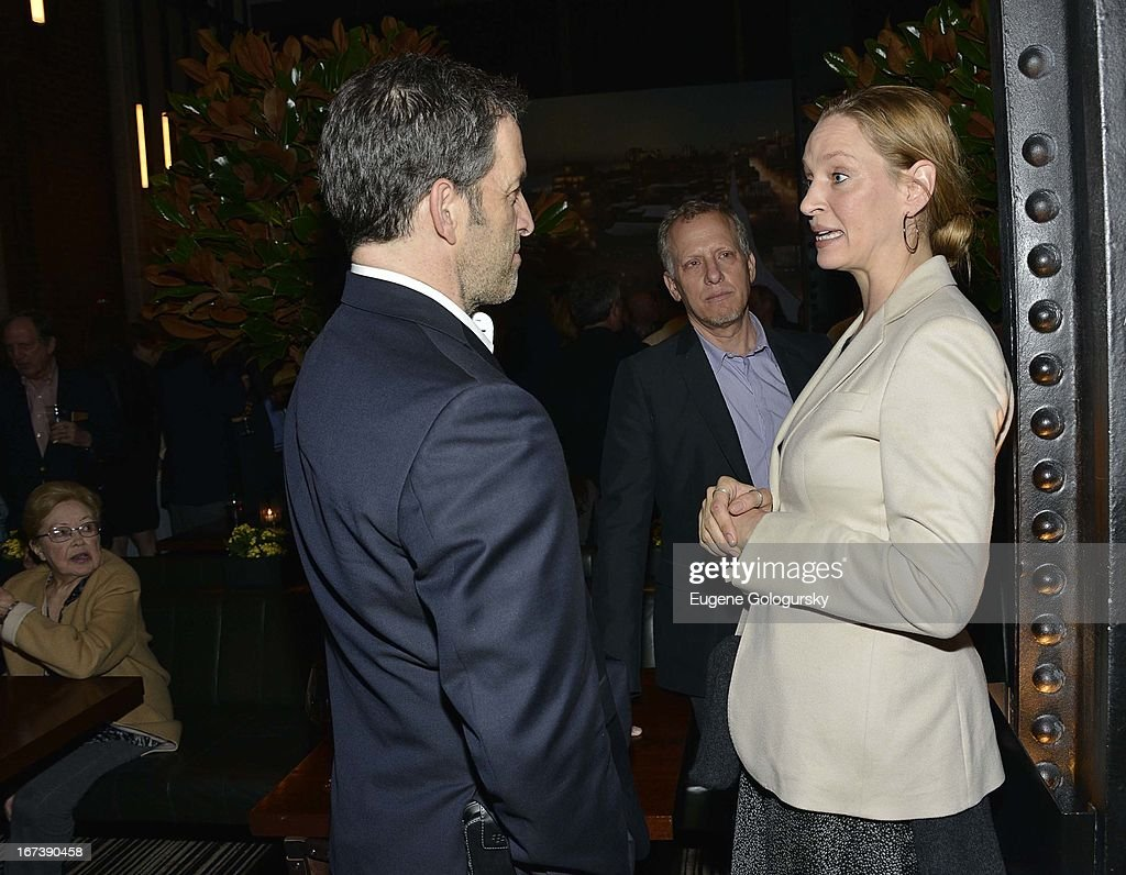 Kenneth Cole and <a gi-track='captionPersonalityLinkClicked' href=/galleries/search?phrase=Uma+Thurman&family=editorial&specificpeople=171973 ng-click='$event.stopPropagation()'>Uma Thurman</a> attend the after party for the screening of 'Battle of amfAR' during the 2013 Tribeca Film Festival at Colicchio & Sons on April 24, 2013 in New York City.