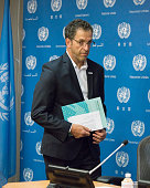 Kenneth Cole arrives at the press briefing room for the announcement On the eve of the start of the United Nations General Assembly's highlevel...