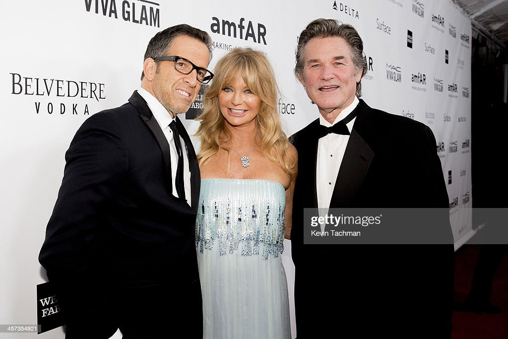Kenneth Cole, Goldie Hawn and Kurt Russell attend the 2013 amfAR Inspiration Gala Los Angeles at Milk Studios on December 12, 2013 in Los Angeles, California.