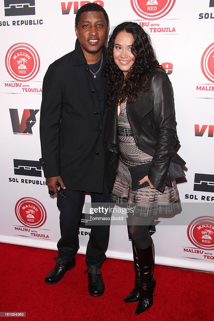 Kenneth Edmonds (L) and guest attend the Vibe Magazine 20th anniversary celebration held at the Sunset Tower on February 8, 2013 in West Hollywood, California.