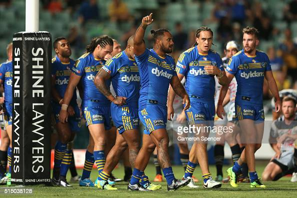 Kenneth Edwards of the Eels celebrates scoring a try during the round two NRL match between the Parramatta Eels and the North Queensland Cowboys at...