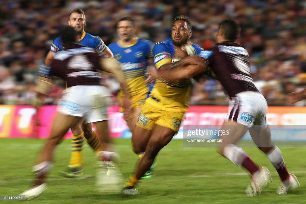 Kenneth Edwards of the Eels is tackled during the round seven NRL match between the Manly Sea Eagles and Parramatta Eels at Brookvale Oval on April 14, 2016 in Sydney, Australia.