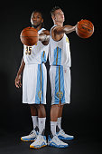 Kenneth Faried and Danilo Gallinari of the Denver Nuggets pose for a portrait on September 28 2015 at the Pepsi Center in Denver Colorado NOTE TO...