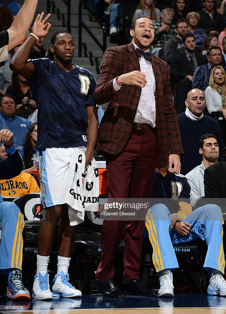 <a gi-track='captionPersonalityLinkClicked' href=/galleries/search?phrase=Kenneth+Faried&family=editorial&specificpeople=5765135 ng-click='$event.stopPropagation()'>Kenneth Faried</a> #35 and <a gi-track='captionPersonalityLinkClicked' href=/galleries/search?phrase=JaVale+McGee&family=editorial&specificpeople=4195625 ng-click='$event.stopPropagation()'>JaVale McGee</a> #34 of the Denver Nuggets on the bench during the game against the New Orleans Pelicans on December 15, 2013 at the Pepsi Center in Denver, Colorado.