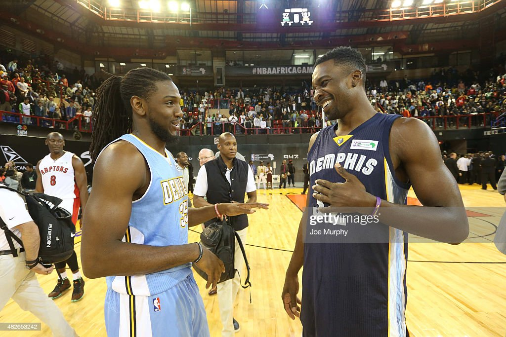 <a gi-track='captionPersonalityLinkClicked' href=/galleries/search?phrase=Kenneth+Faried&family=editorial&specificpeople=5765135 ng-click='$event.stopPropagation()'>Kenneth Faried</a> #35 and <a gi-track='captionPersonalityLinkClicked' href=/galleries/search?phrase=Jeff+Green+-+Basket&family=editorial&specificpeople=4218745 ng-click='$event.stopPropagation()'>Jeff Green</a> #32 of Team World chats after the game of the NBA Africa Game 2015 as part of Basketball Without Boarders on August 1, 2015 at Ellis Park Arena in Johannesburg, South Africa.