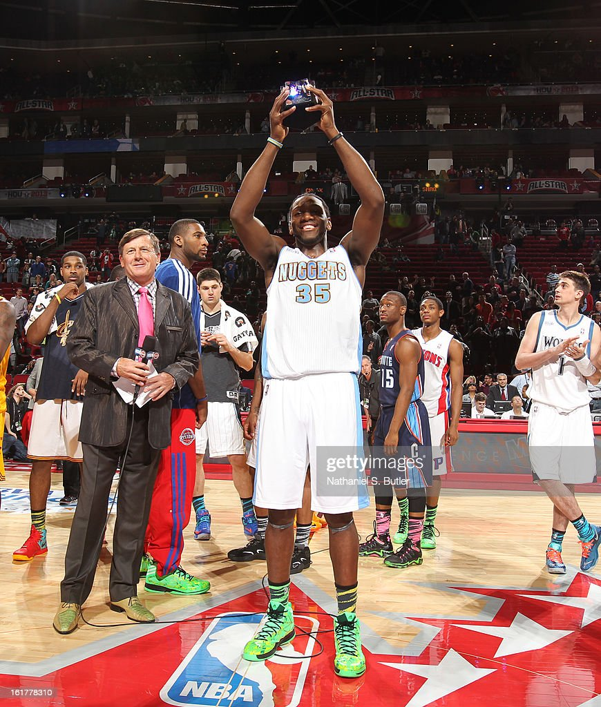 Kenneth Faried #35 of Team Chuck accepts the BBVA Rising Star Challenge MVP Award after defeating Team Shaq during the 2013 BBVA Rising Stars Challenge at Toyota Center on February 15, 2013 in Houston, Texas.