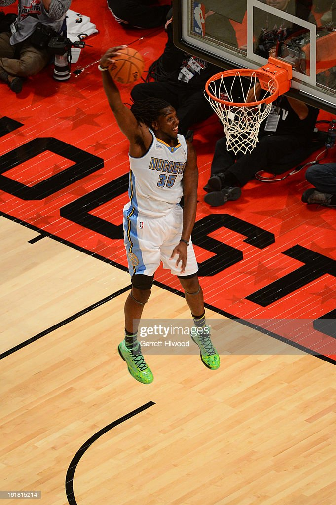 Kenneth Faried #35 of Team Chuck goes up for the slam dunk against Team Shaq during 2013 BBVA Rising Stars Challenge at Toyota Center on February 15, 2013 in Houston, Texas.