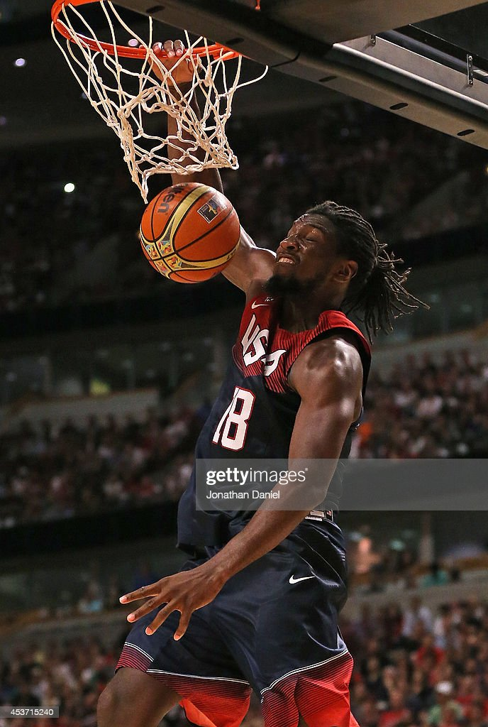 Kenneth Faried #18 of team USA dunks against team Brazil during an exhibition game at the United Center on August 16, 2014 in Chicago, Illinois. Team USA defeated team Brazil 95-78.