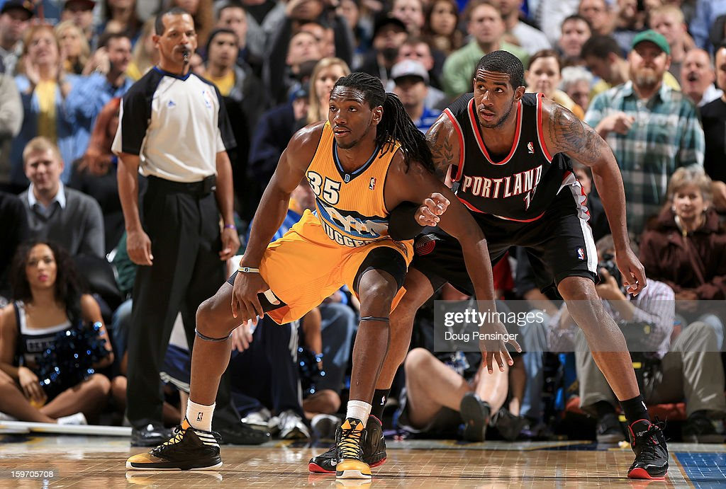 <a gi-track='captionPersonalityLinkClicked' href=/galleries/search?phrase=Kenneth+Faried&family=editorial&specificpeople=5765135 ng-click='$event.stopPropagation()'>Kenneth Faried</a> #35 of the Denver Nuggets and <a gi-track='captionPersonalityLinkClicked' href=/galleries/search?phrase=LaMarcus+Aldridge&family=editorial&specificpeople=453277 ng-click='$event.stopPropagation()'>LaMarcus Aldridge</a> #12 of the Portland Trail Blazers battle for position at the Pepsi Center on January 15, 2013 in Denver, Colorado. The Nuggets defeated the Trail Blazers 115-111 in overtime.