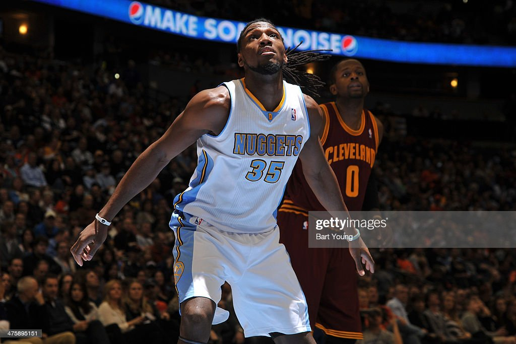<a gi-track='captionPersonalityLinkClicked' href=/galleries/search?phrase=Kenneth+Faried&family=editorial&specificpeople=5765135 ng-click='$event.stopPropagation()'>Kenneth Faried</a> #35 of the Denver Nuggets battles for position against the Cleveland Cavaliers on January 17, 2014 at the Pepsi Center in Denver, Colorado.