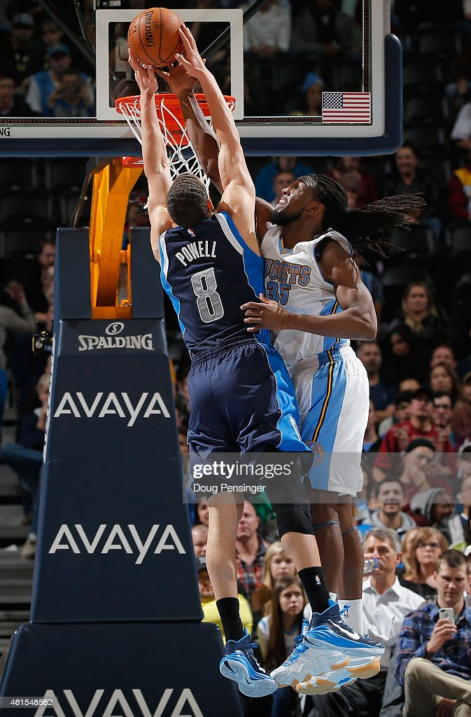 <a gi-track='captionPersonalityLinkClicked' href=/galleries/search?phrase=Kenneth+Faried&family=editorial&specificpeople=5765135 ng-click='$event.stopPropagation()'>Kenneth Faried</a> #35 of the Denver Nuggets blocks a shot by <a gi-track='captionPersonalityLinkClicked' href=/galleries/search?phrase=Dwight+Powell&family=editorial&specificpeople=7544529 ng-click='$event.stopPropagation()'>Dwight Powell</a> #8 of the Dallas Mavericks at Pepsi Center on January 14, 2015 in Denver, Colorado.