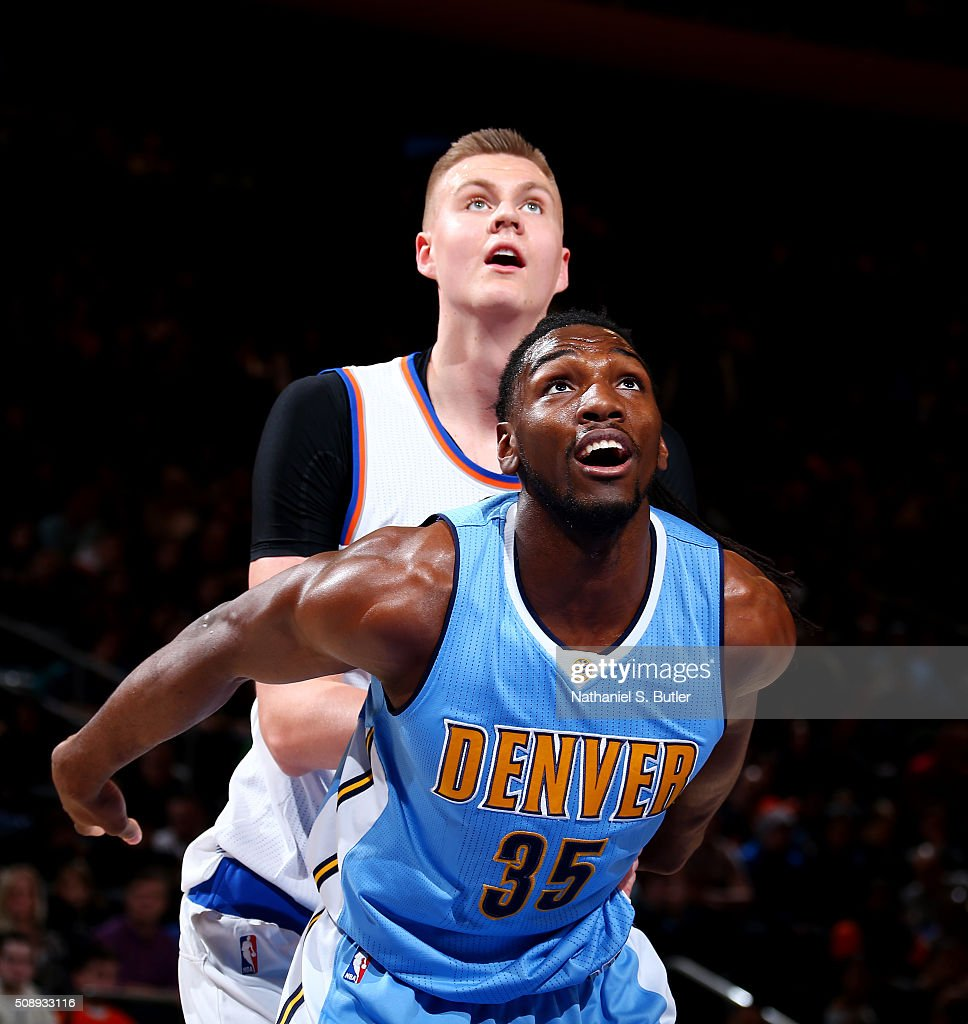 <a gi-track='captionPersonalityLinkClicked' href=/galleries/search?phrase=Kenneth+Faried&family=editorial&specificpeople=5765135 ng-click='$event.stopPropagation()'>Kenneth Faried</a> #35 of the Denver Nuggets boxes out against Kristaps Porzingis #6 of the New York Knicks during the game on February 7, 2016 at Madison Square Garden in New York City, New York.