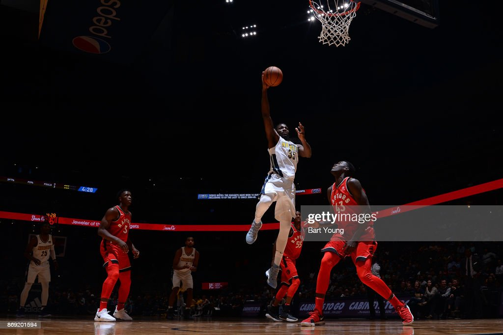 Kenneth Faried #35 of the Denver Nuggets drives to the basket against the Toronto Raptors on November 1, 2017 at the Pepsi Center in Denver, Colorado.