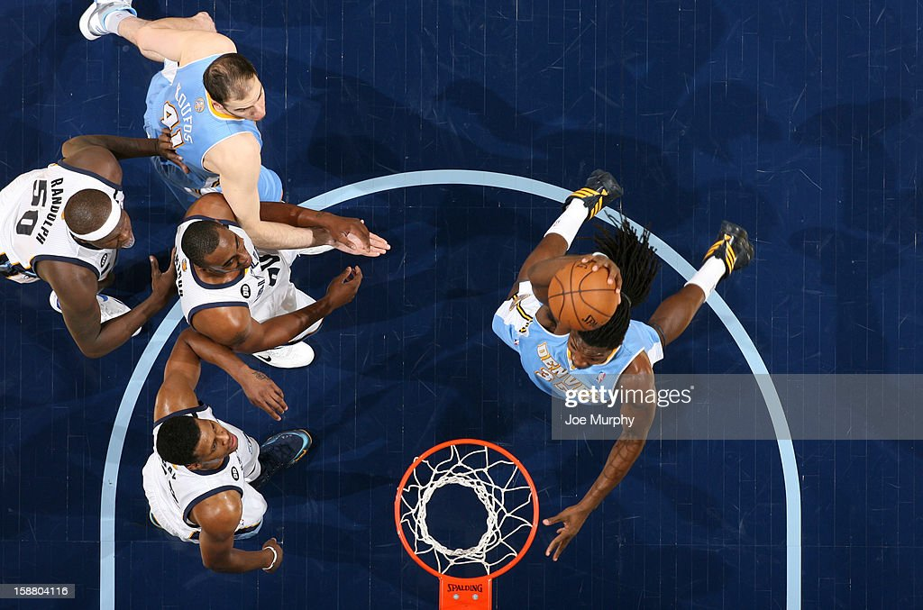 Kenneth Faried #35 of the Denver Nuggets dunks against the Memphis Grizzlies on December 29, 2012 at FedExForum in Memphis, Tennessee.