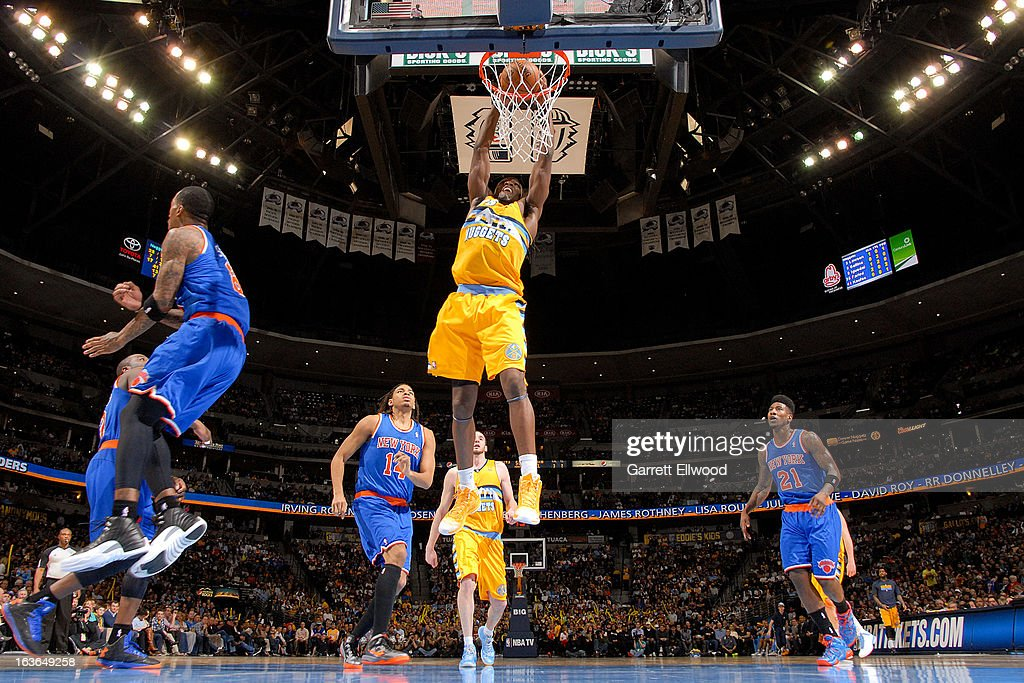 <a gi-track='captionPersonalityLinkClicked' href=/galleries/search?phrase=Kenneth+Faried&family=editorial&specificpeople=5765135 ng-click='$event.stopPropagation()'>Kenneth Faried</a> #35 of the Denver Nuggets dunks against the New York Knicks on March 13, 2013 at the Pepsi Center in Denver, Colorado.