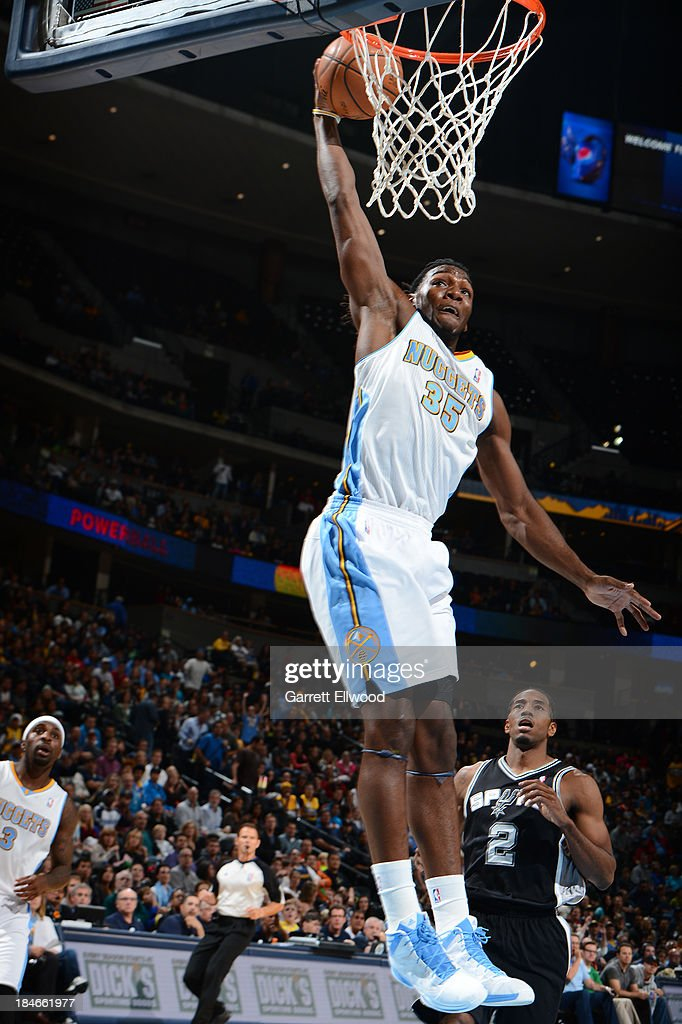 <a gi-track='captionPersonalityLinkClicked' href=/galleries/search?phrase=Kenneth+Faried&family=editorial&specificpeople=5765135 ng-click='$event.stopPropagation()'>Kenneth Faried</a> #35 of the Denver Nuggets dunks against the San Antonio Spurs on October 14, 2013 at the Pepsi Center in Denver, Colorado.