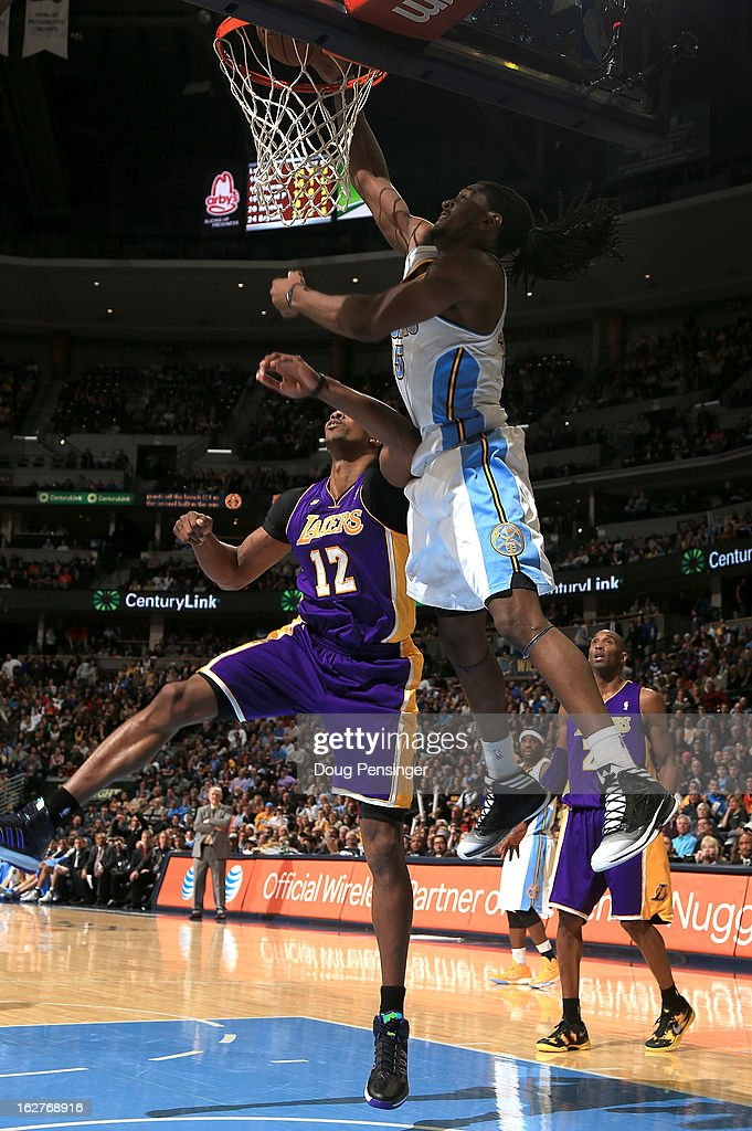 Kenneth Faried #35 of the Denver Nuggets dunks the ball against Kobe Bryant #24 of the Los Angeles Lakers at the Pepsi Center on February 25, 2013 in Denver, Colorado. The Nuggets defeated the Lakers 119-108.