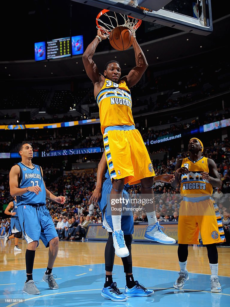 Kenneth Faried #35 of the Denver Nuggets dunks the ball against the Minnesota Timberwolves at Pepsi Center on November 15, 2013 in Denver, Colorado. The Nuggets defeated the Timberwolves 117-113.
