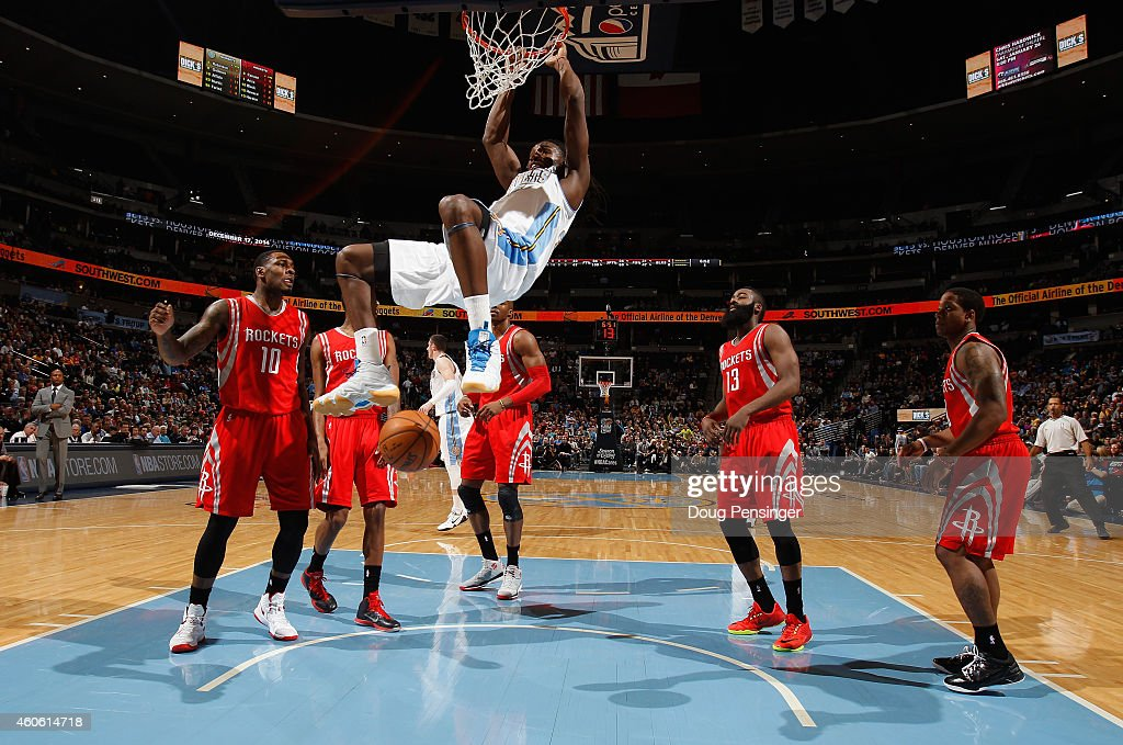 <a gi-track='captionPersonalityLinkClicked' href=/galleries/search?phrase=Kenneth+Faried&family=editorial&specificpeople=5765135 ng-click='$event.stopPropagation()'>Kenneth Faried</a> #35 of the Denver Nuggets dunks the ball against the Houston Rockets at Pepsi Center on December 17, 2014 in Denver, Colorado.