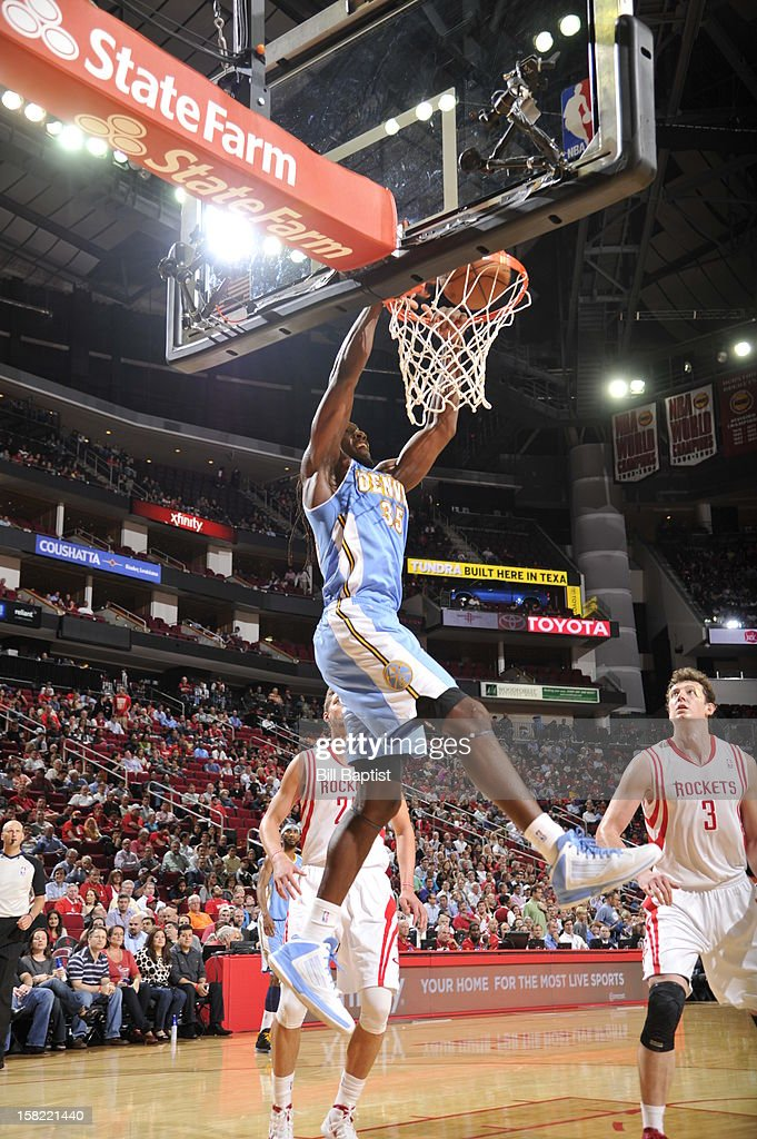 Kenneth Faried #35 of the Denver Nuggets dunks the ball against the Houston Rockets on November 7, 2012 at the Toyota Center in Houston, Texas.